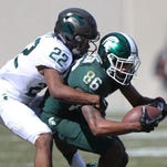 Michigan State wide receiver Trishton Jackson accepts Mark Dantonio's challenge