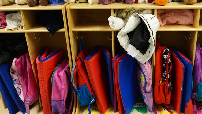 Student backpacks are seen at a preschool in Caddo Parish.