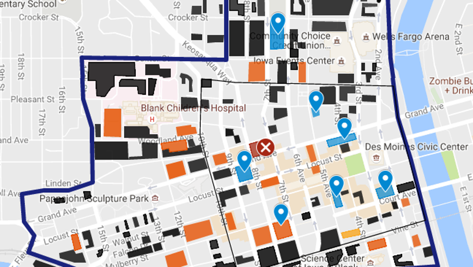 A map identifies all private and public parking lots