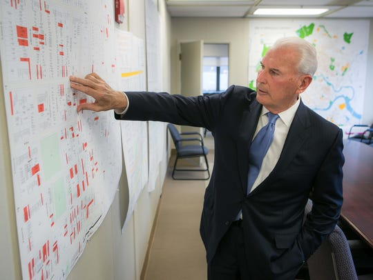 "Mayor Mike Purzycki in his West Center City ""war room"" in March, where he works on a revitalization project for the neighborhood, 50 years after it was ground zero for riots."