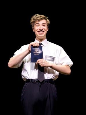 """A.J. Holmes as Elder Cunningham in the first national tour of """"The Book of Mormon."""""""