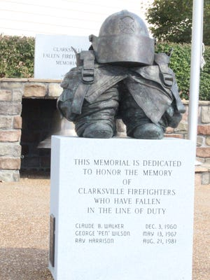 This memorial to fallen Clarksville firefighters was sculpted by Scott Wise. The Clarksville firefighter sculpted another one dedicated to all fallen firefighters that will be unveiled at a 9/11 ceremony Friday.