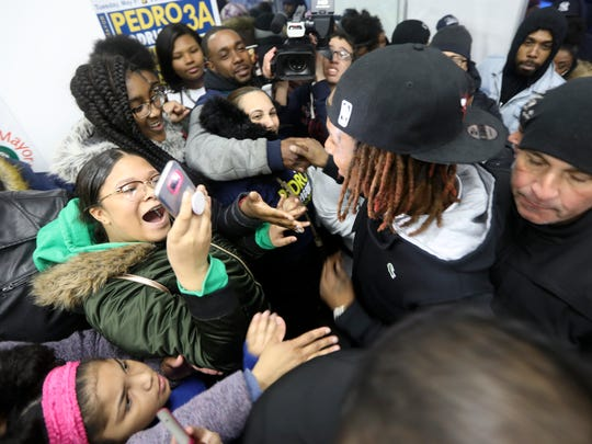 Fans crowd Fetty Wap as he enters Paterson mayoral candidate Pedro Rodriguez's campaign headquarters Sunday.