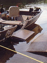 Pete Linsner's fishing boat is equipped with a ramp that lowers to create a wheelchair access. It is shown in a picture taken in 2012 at Little Birch Lake.