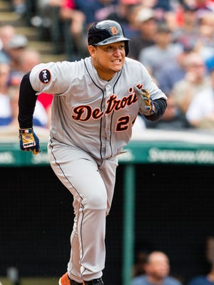 Tigers' Miguel Cabrera runs out a single in the eighth inning at Progressive Field on Sept. 13, 2017 in Cleveland.