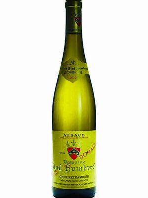 2012 Zind-Humbrecht Gewurztraminer, 14 percent alcohol, Turckheim, Alsace, France, $30. The aroma is magnificent. Run to buy this wine. Worth every penny.