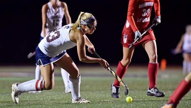 New Oxford's Carly Flickinger passes against Bermudian Springs in the second half of the YAIAA field hockey title game Thursday, Oct. 19, 2017, at Northeastern. New Oxford won 1-0 to deliver Bermudian Springs their first season defeat and to win the Colonials' first field hockey championship.