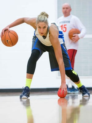 2015: Elena Delle Donne works out with her longtime personal coach, Ursuline coach John Noonan, at Ursuline Academy in Wilmington.