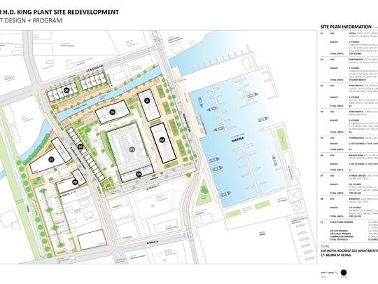 This site plan shows the most recent proposal from Redevelopment Management Associates for the former H.D. King Power Plant site in Fort Pierce.