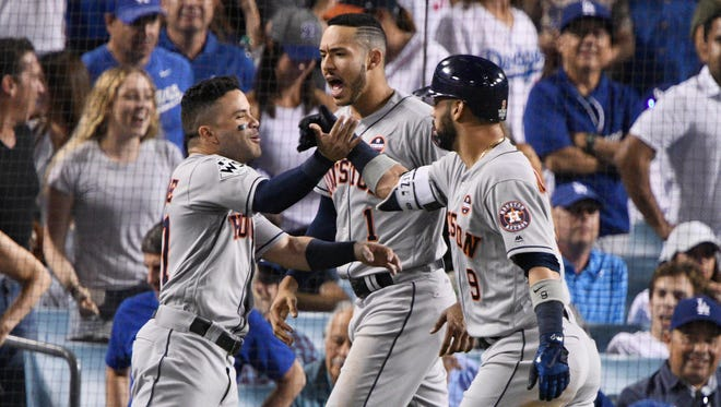 Jose Altuve, Carlos Correa and Marwin Gonzalez all homered for the Astros in Game 2.