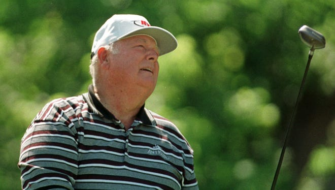 Golfer Billy Casper of Chula Vista, Calif., watches his drive off the second tee Tuesday morning, June 22, 1999, at the Central New York Regional skins game in Syracuse, N.Y. It was to benefit the SUNY-Health Science Center.