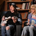 """Mike Myers (left) and Dana Carvey of """"Wayne's World"""" are seen at the MTV Movie Awards in 2008."""