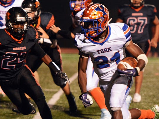 Khalid Dorsey is seen here during his days as a standout running back for York High.