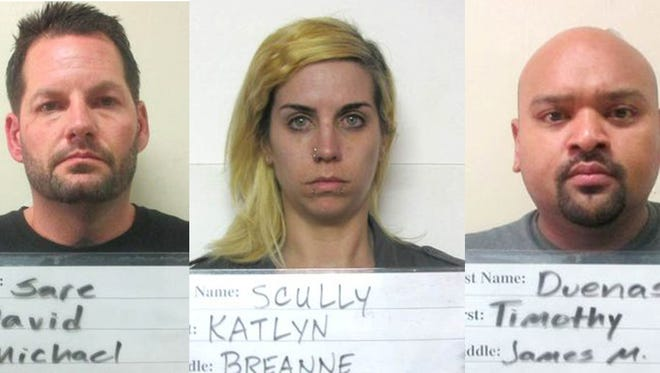 David Sare, Katlyn Scully adn Timothy Duenas pleaded not guilty in a federal meth case.