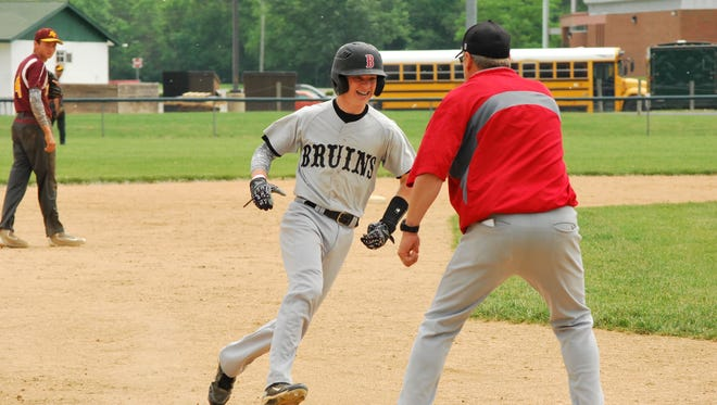 Blackford shortstop Braxton Strait smiles as he rounds the bases after hitting a two-run, go-ahead home run in a 7-6 sectional loss to Alexandria.