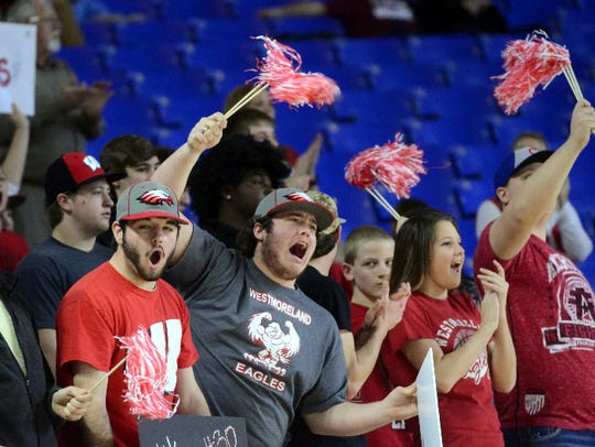 Fans cheer on the Westmoreland High girls basketball