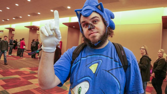 Nathaniel Laska dresses as Sonic The Hedgehog during the Indiana Comic Con held at the Indianapolis Convention Center on Sunday, April 1, 2018.