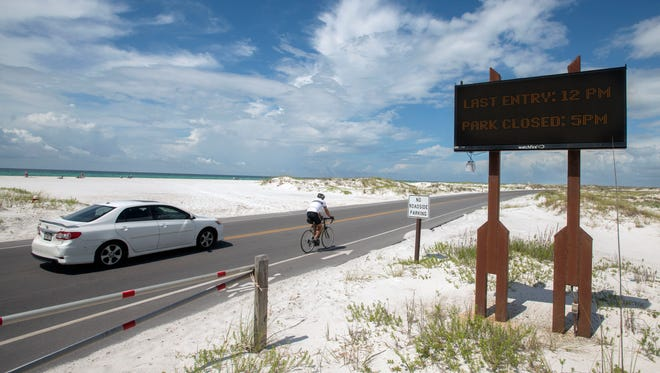 Visitors head to Fort Pickens Saturday, May 26, 2018 ahead of  Subtropical Storm Alberto. The National Park Service put a 5 P.M. deadline for campers to leave the park.