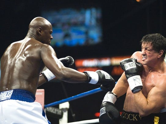 Mason Dixon (left) and Sylvester Stallone battle in