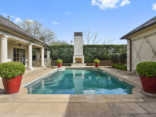 The pool area has lots of room for entertaining.