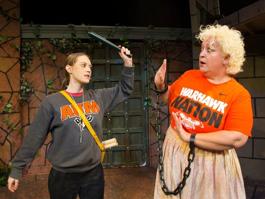 """Kiersten Mattox, AUM communication and theater major, and Elizabeth Woodworth, AUM associate professor of English and Philosophy, rehearse for the 2018 AUM Theatre production of Shakespeare's """"Measure for Measure."""""""