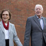 Former president Jimmy Carter with his wife, Rosalynn, in Plains, Ga., on Dec. 13, 2015.