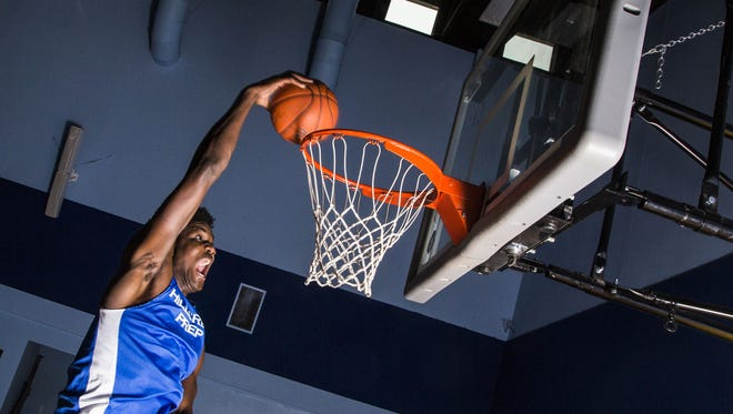 Hillcrest Prep junior DeAndre Ayton, a 7-foot-1 basketball player, is rated the No.1 player in the country. Pictured here at Hillcrest Prep in Phoenix, Arizona, on Feb. 1, 2016.