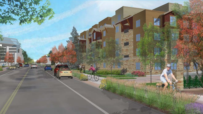 A rendering of what the Lake Street apartments will look like.
