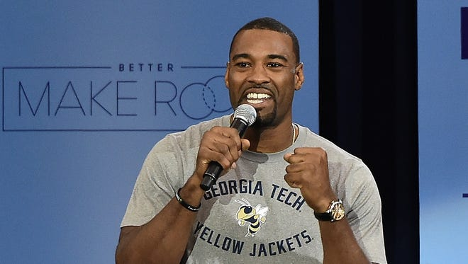 Calvin Johnson attends the third annual College Signing Day at the Harlem Armory on April 26, 2016, in New York.