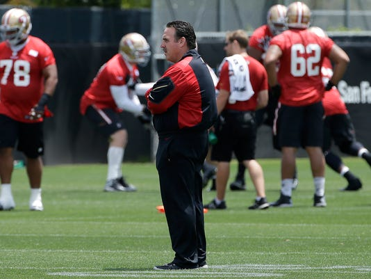 San Francisco 49ers head coach Jim Tomsula watches practice at an NFL football facility in Santa Clara, Calif., Friday, May 29, 2015. (AP Photo/Jeff Chiu)