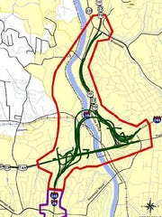This is a simplified map of the route chosen for the I-26 Connector in the area around Bowen Bridge. The section of I-240 discussed by local officials Thursday is to the southwest of the bridge area.