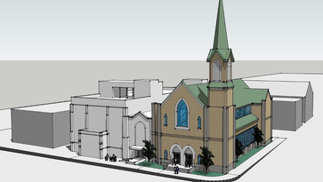 Lots of glass on the south, or Poplar-facing wall, will open the sanctuary to Downtown.