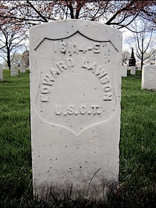 Civil War headstone of Edward Lawson (1844-1929) in Arlington National Cemetery (2016 Photo by S. H. Smith)
