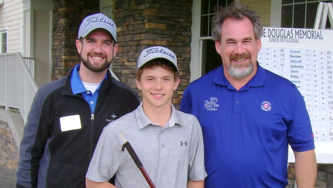 Boys winner Jon Petrin poses with Five Star Bank Assistant Vice President of Marketing Zac Knapp, left, and The First Tee of Corning Director Jon Wilbur on Sunday after his win at Corning Country Club.