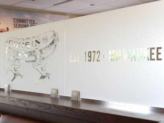 Part of the Menomonee Falls Cousins redesign includes this glass panel featuring the original logo from when the franchise was first established in Milwaukee back in 1972.