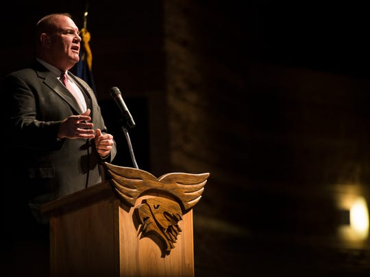 """County Commission """"A"""" candidate Michael Bleak delivers a speech during the Iron County Republican County Convention at Canyon View High School Saturday, April 14, 2018."""