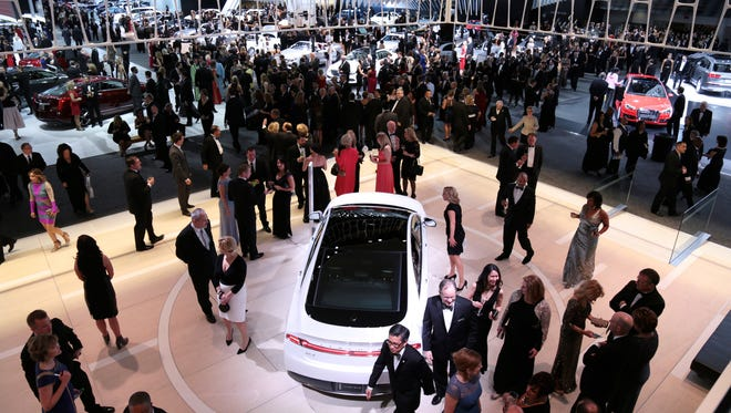 The Lincoln exhibit at the 2016 North American International Auto Show during the Charity Preview at Cobo Center on Friday, Jan. 15, 2016 in Detroit.