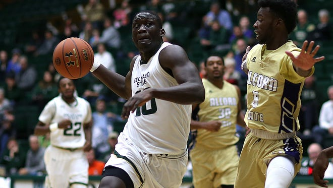 CSU's Che Bob drives past an Alcorn State defender on his way to the basket during a Nov. 27 game at Moby Arena.