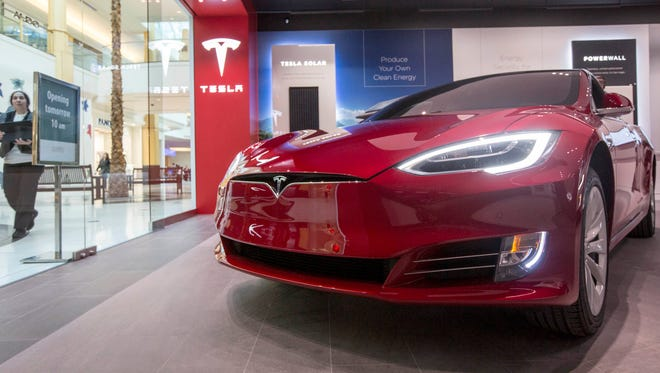 The Tesla Model S is seen in the new showroom at Somerset North in Troy on Thursday, October 26, 2017.