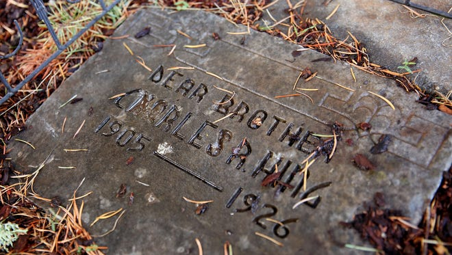 A simple, flat headstone for Charles Hing lies in the backyard of the Craft family in South Salem.
