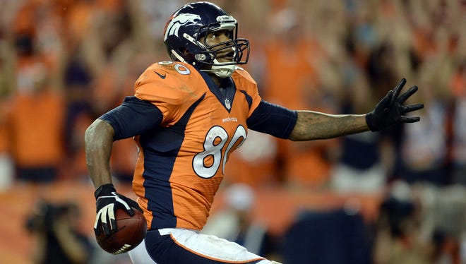 Broncos tight end Julius Thomas caught his first two NFL touchdowns in the season opener vs. Baltimore.