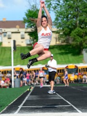 SJCC's Ava Stepanic competes in the long jump at regionals.