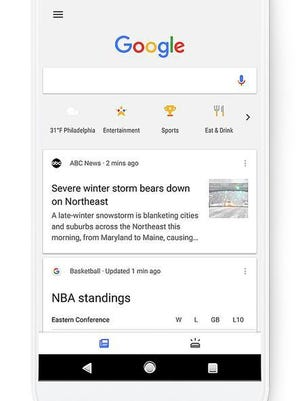 This image provided by Google shows a screen grab of a smartphone demonstrating the use of a new search feature by Google called Shortcuts. Shortcuts are a new row of icons that appear below the Google search box that can be tapped so people can see the latest weather in the area, movie times, suggestions on places to eat or scores of their latest teams without typing anything into the search box.