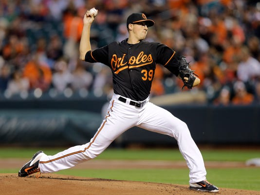 Baltimore Orioles starting pitcher Kevin Gausman throws to the Boston Red Sox in the first inning of a baseball game, Friday, Sept. 19, 2014, in Baltimore. (AP Photo/Patrick Semansky)