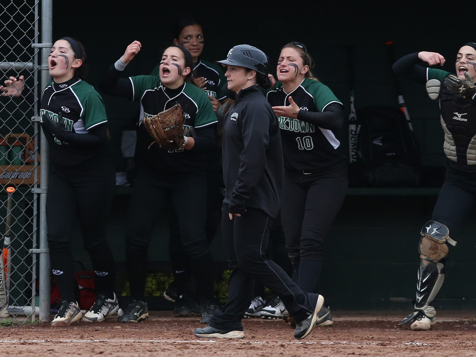 Yorktown defeated Brewster 6-4 in a girls softball game at Brewster High School May 5, 2016. Yorktown won the game 6-4.