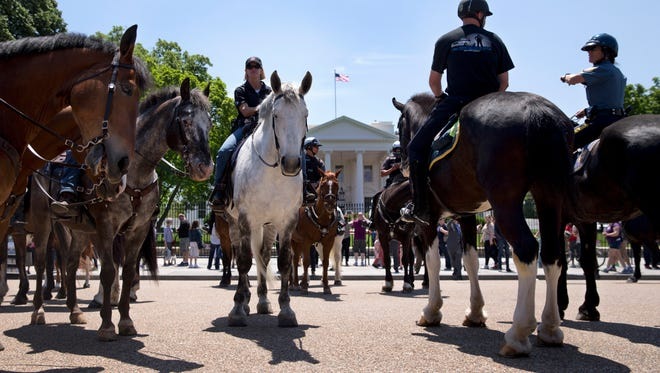 Mounted members of law enforcement gather in front of the White House in Washington, Thursday, May 14, 2015, as part of National Police Week. In 1962, President John F. Kennedy signed a proclamation which designated May 15th as Peace Officers Memorial Day and the week in which that date falls as Police Week. (AP Photo/Carolyn Kaster) ORG XMIT: DCCK101