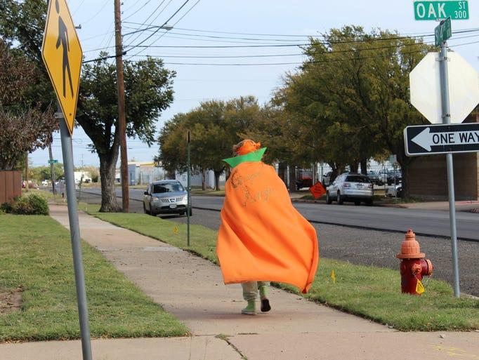 Ginger Avenger strolling near Law Enforcement Center