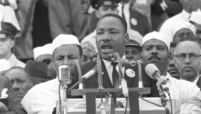 """Dr. Martin Luther King Jr. addresses marchers during his """"I Have a Dream"""" speech at the Lincoln Memorial in Washington D.C. in this Aug. 28, 1963 file photo. (AP Photo)"""