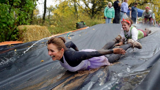 The Warrior Princess Mud Run returns to Mosquito Hill Nature Center in New London on Saturday. Seventeen muddy obstacles are part of the 5K run.