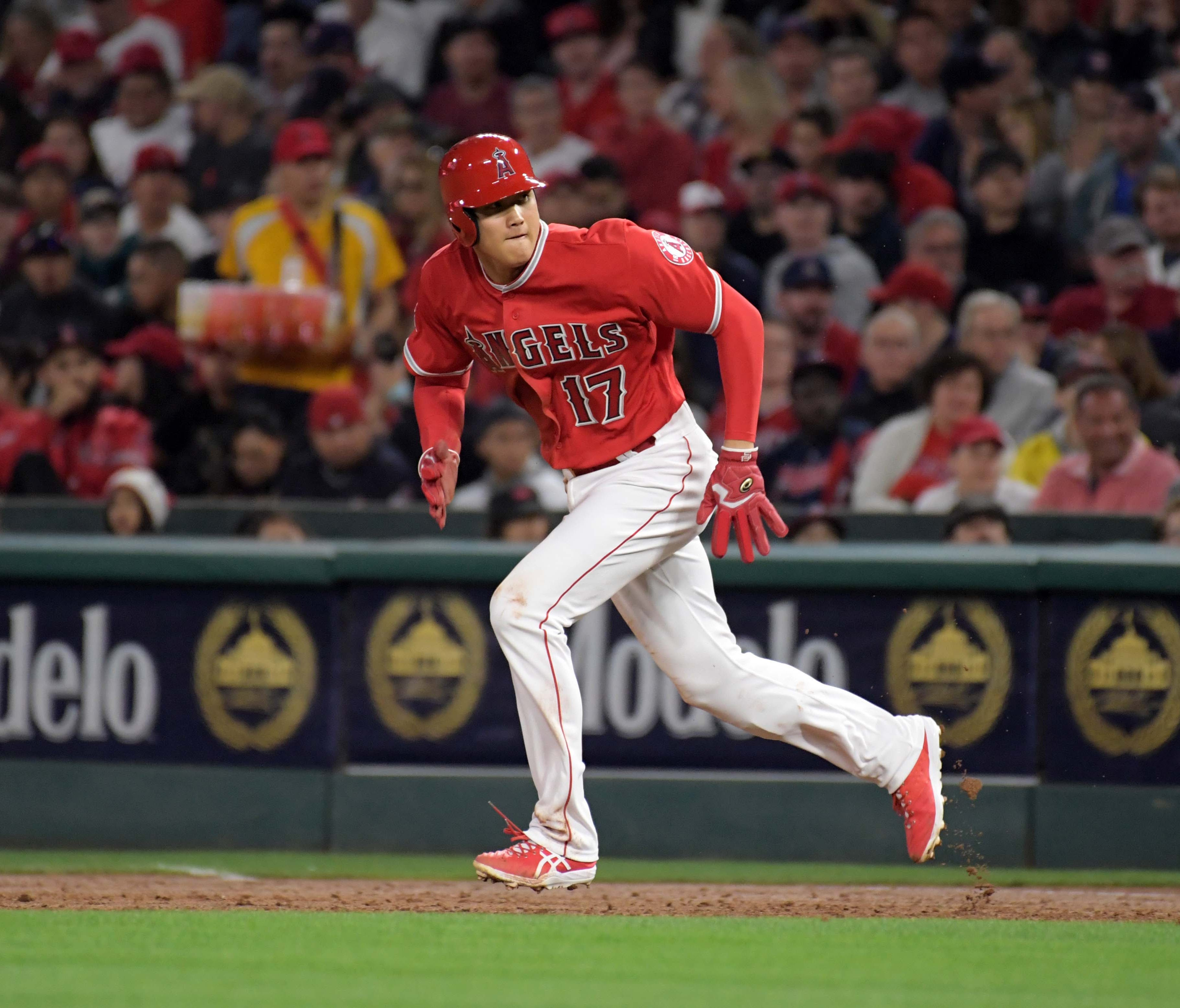 Shohei Ohtani has four hits in his first nine major league at-bats.